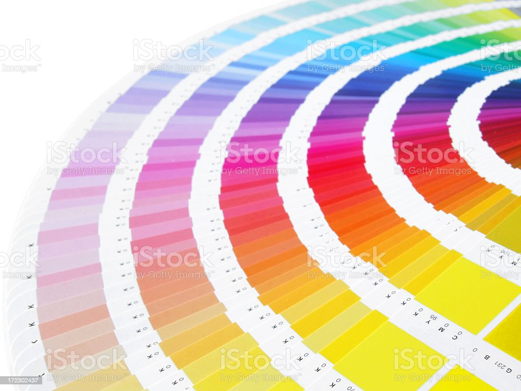 Image of fanned out color charts stock photo