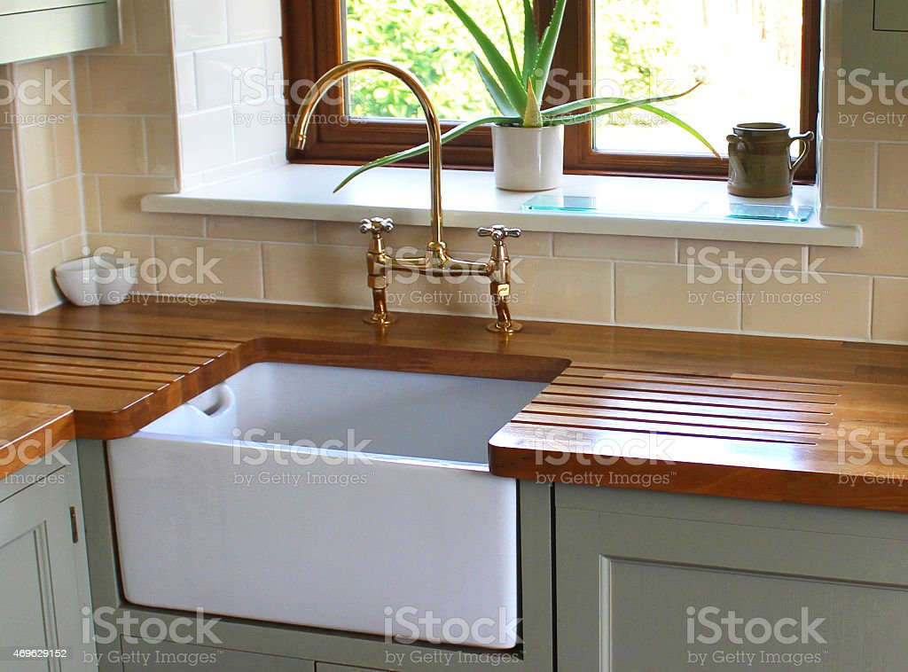 Image Of Farmhouse Kitchen Belfast Butler Sink Real Wood Countertop Royalty Free