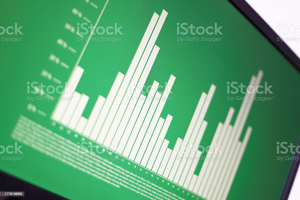 Image of financial graph on a screen royalty-free stock photo