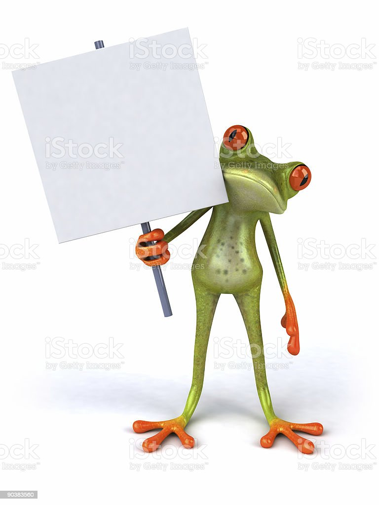 3D image of frog holding a blank sign stock photo