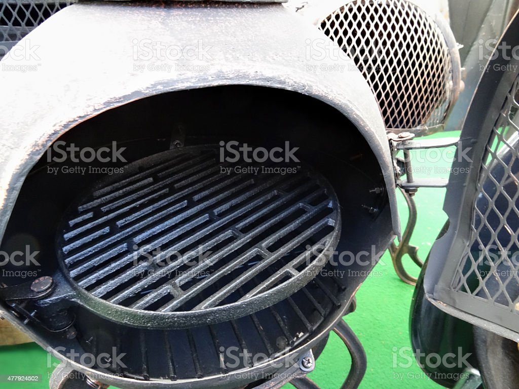 Image of garden chimineas / fireplaces made from metal, wire doors stock photo