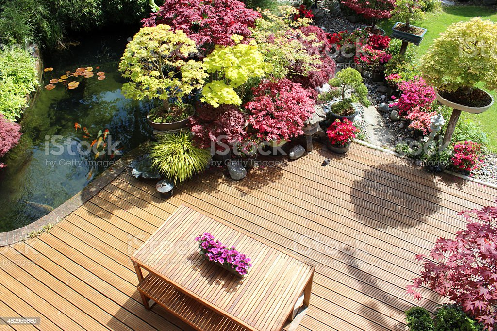 Image Of Garden Decking From Above Koi Pond Japanese