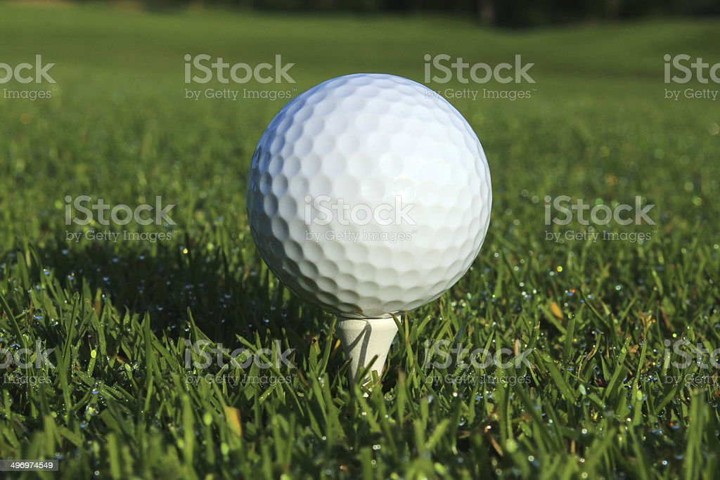 Image of golf ball on tee, golf course fairway grass royalty-free stock photo