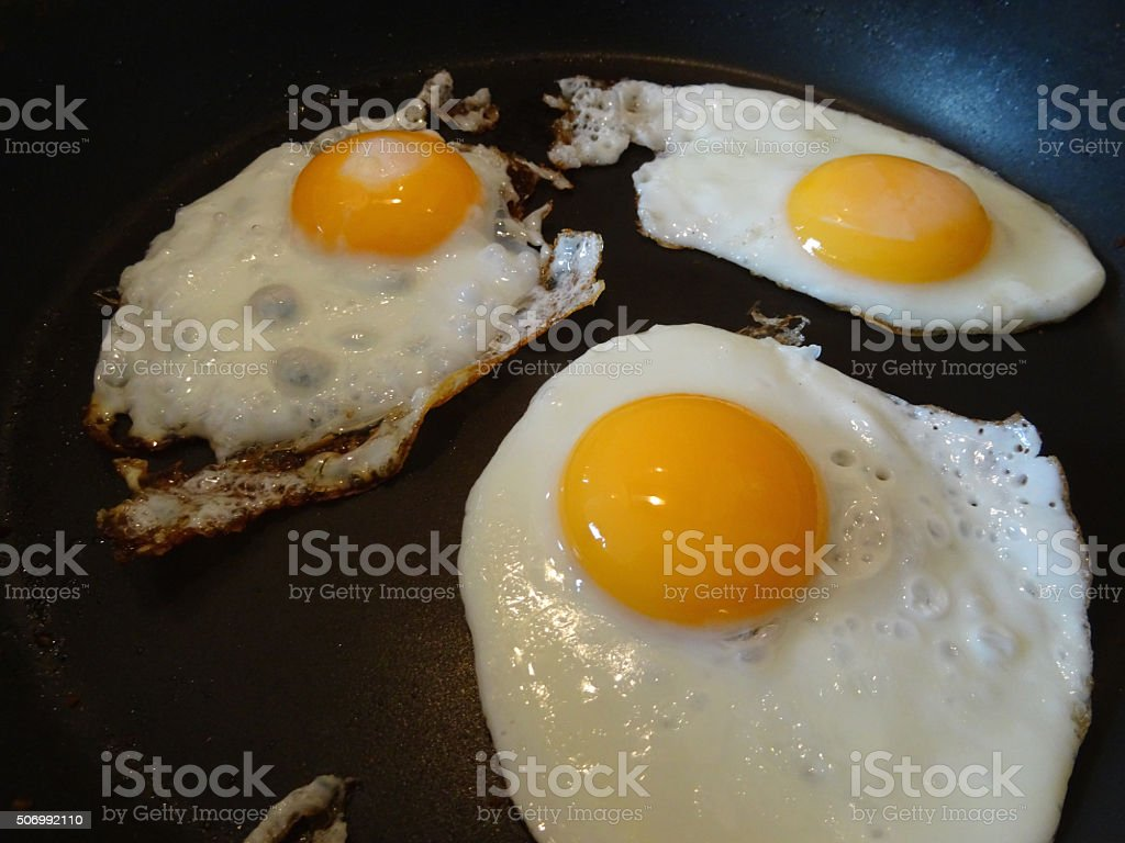 Image of greasy fried-eggs in non-stick frying pan, breakfast fry-up stock photo