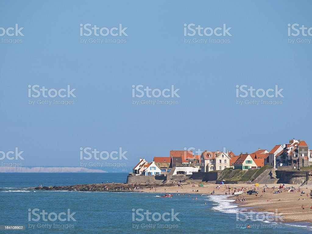 Image of group of beachfront homes stock photo