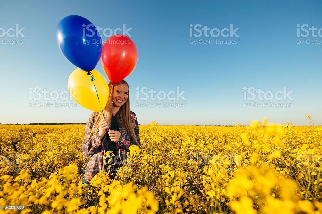 Image of happy woman in organic farm stock photo