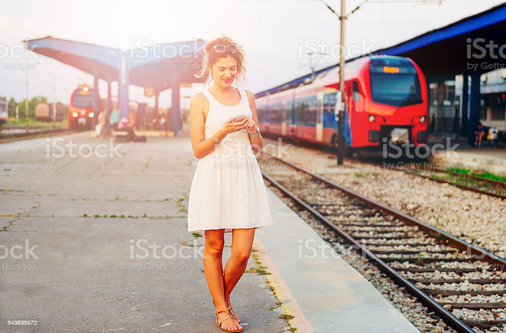 Image of happy woman traveling for city break on weekend. stock photo