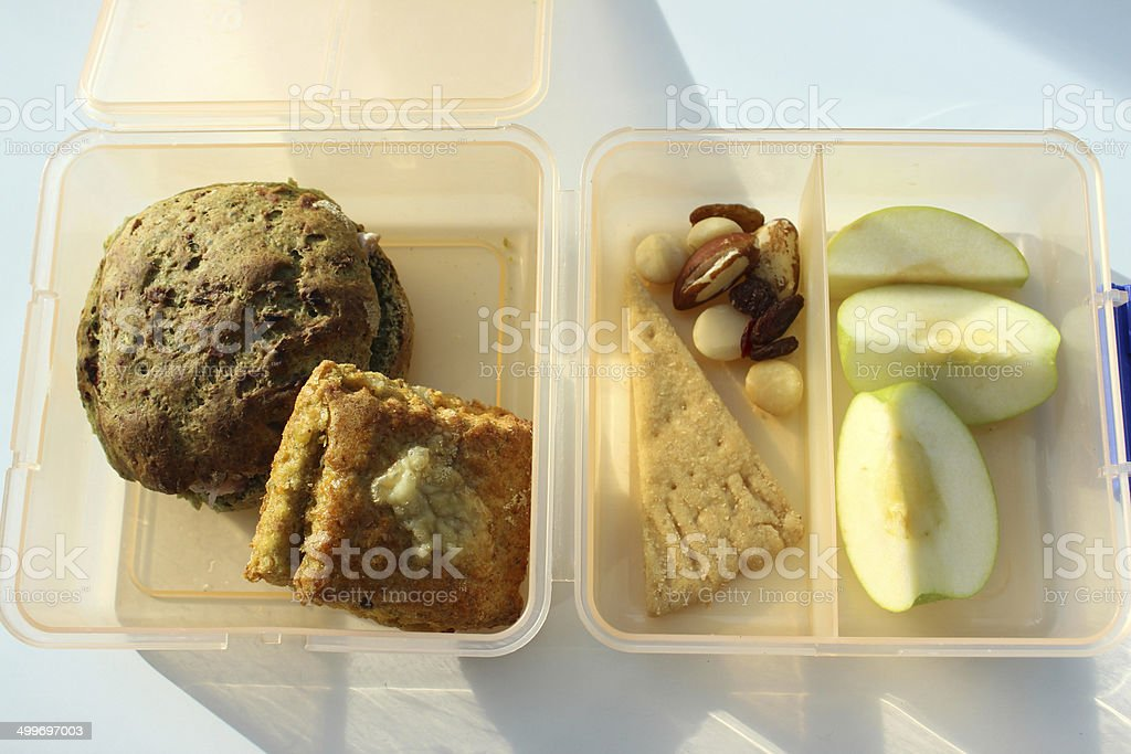 Image of healthy eating clear plastic lunchbox with wholemeal sandwich stock photo