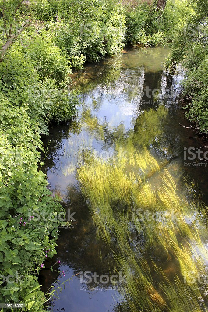 Image of healthy fast-flowing river with clear water and pondweed royalty-free stock photo