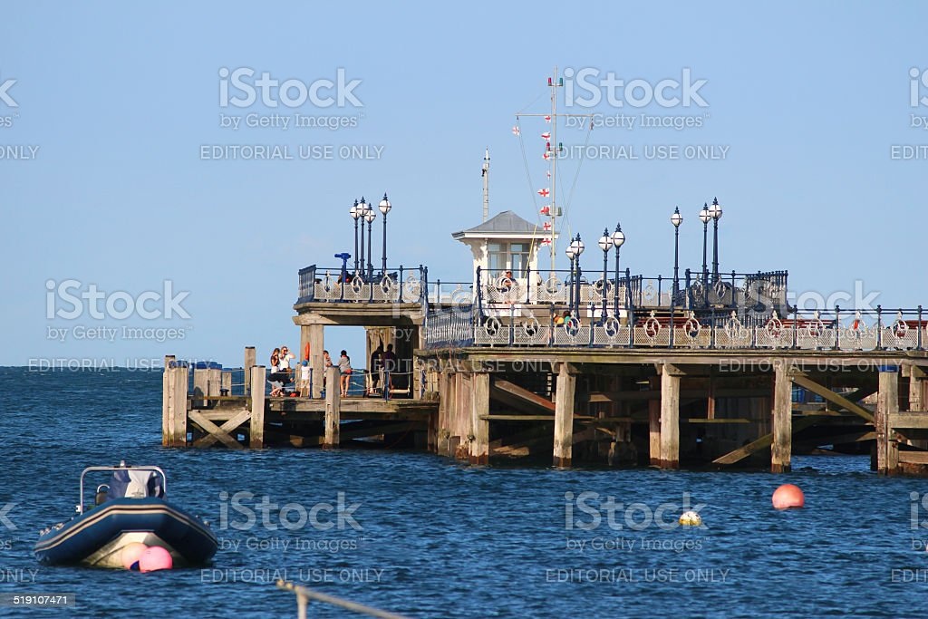 Image of historic pier in sea at Swanage, English seaside-town stock photo