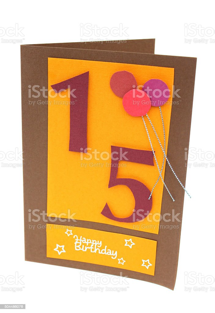 Image of homemade greetings card for children's 15th birthday, balloons stock photo