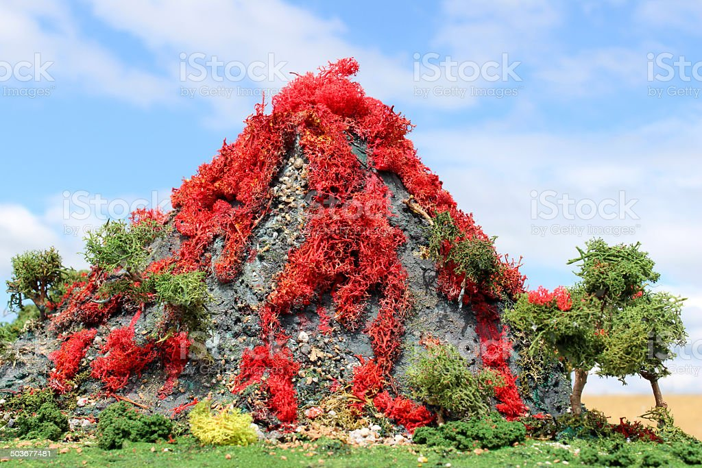 Image of homemade model volcano, created for school project (Geography) royalty-free stock photo