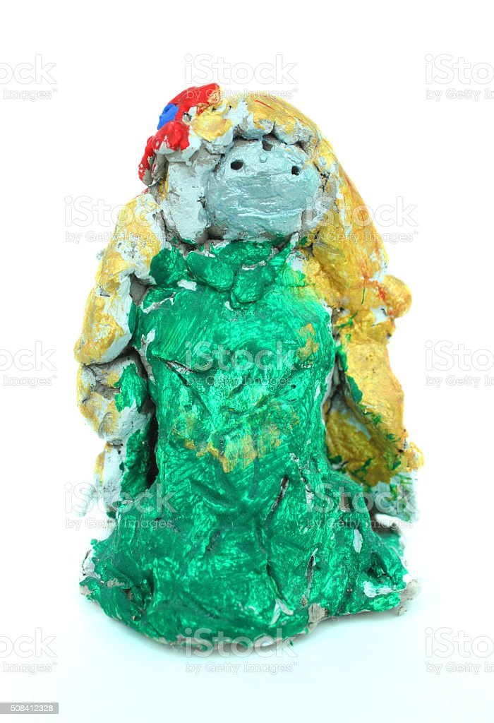 Image of homemade painted clay mermaid toy made by child stock photo
