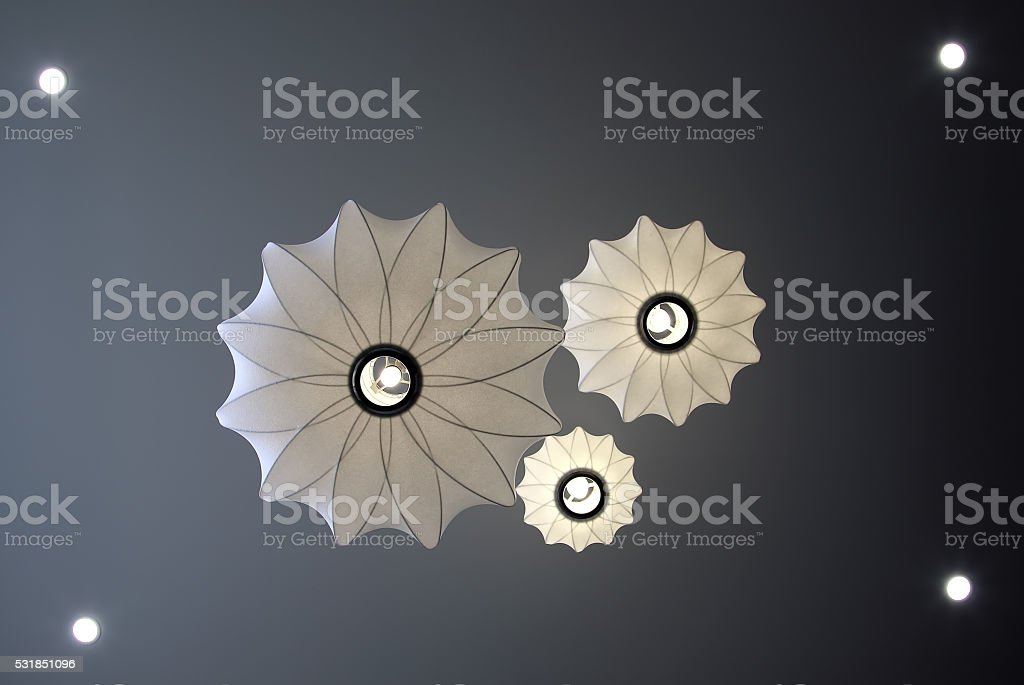 Image of illuminated ceiling lamps stock photo