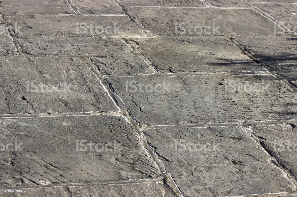 Image of irregular grey flagstone paving slabs, garden patio stones stock photo