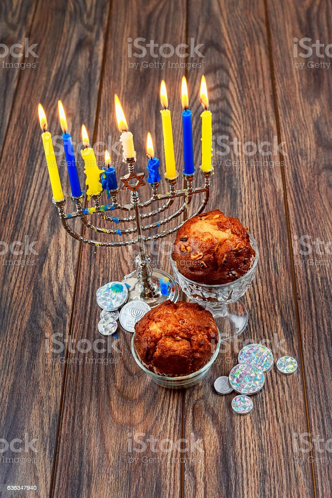 Image of jewish holiday Hanukkah background with menorah traditional stock photo