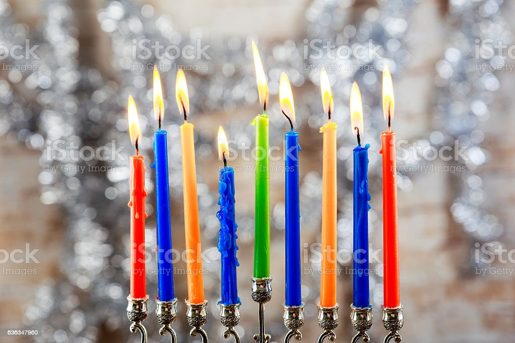 Image of jewish holiday Hanukkah background with menorah traditional...