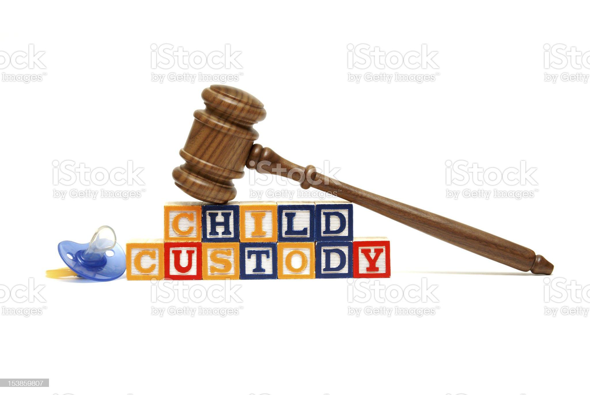 Image of judge's gavel on blocks spelling Child Custody royalty-free stock photo