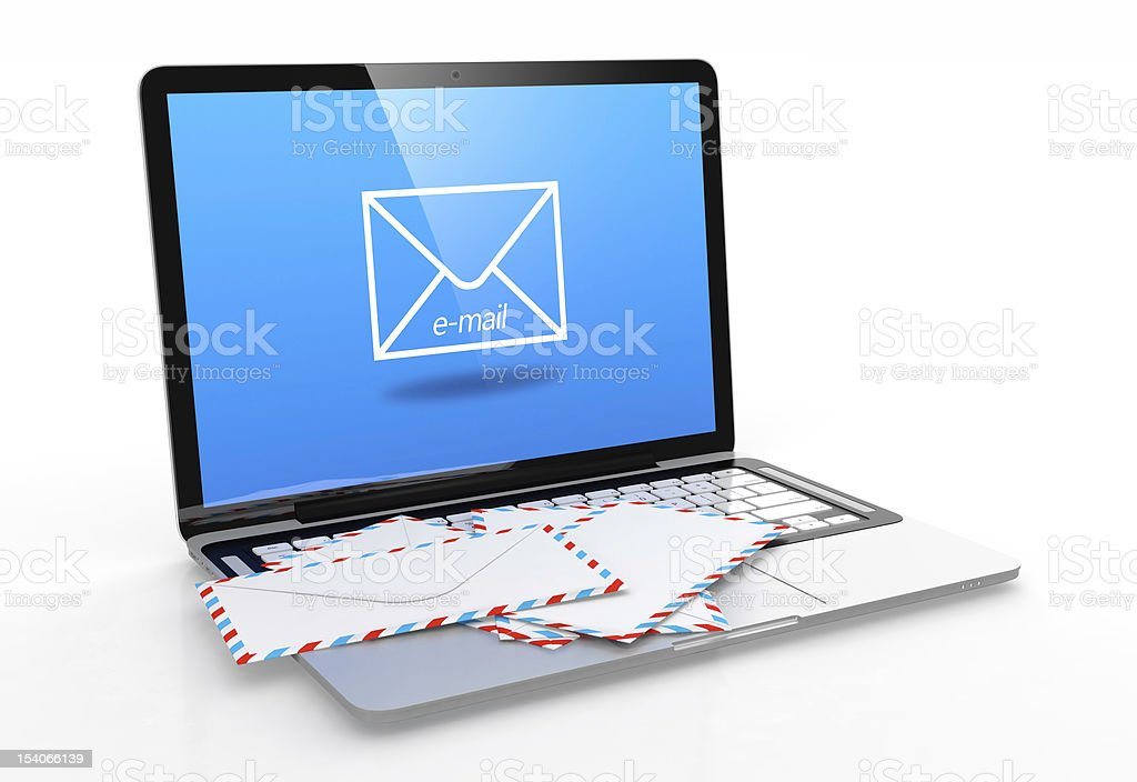 Image of laptop with an email on the screen with mail on top stock photo