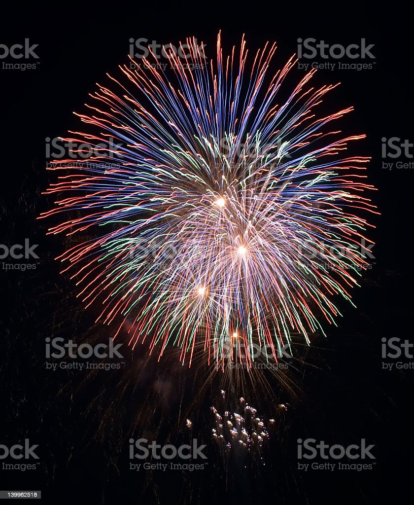Image of large colorful fireworks exploding in night sky royalty-free stock photo