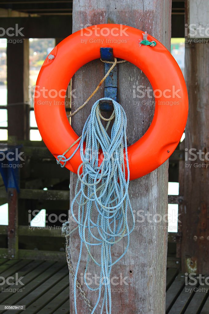 Image of lifebouy / lifering bouyancy aid (life-preserver) at seaside stock photo