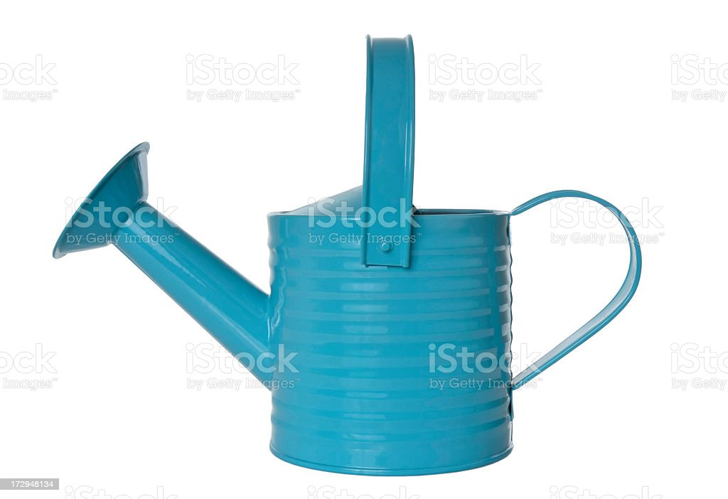 Image of light blue watering can on white background stock photo