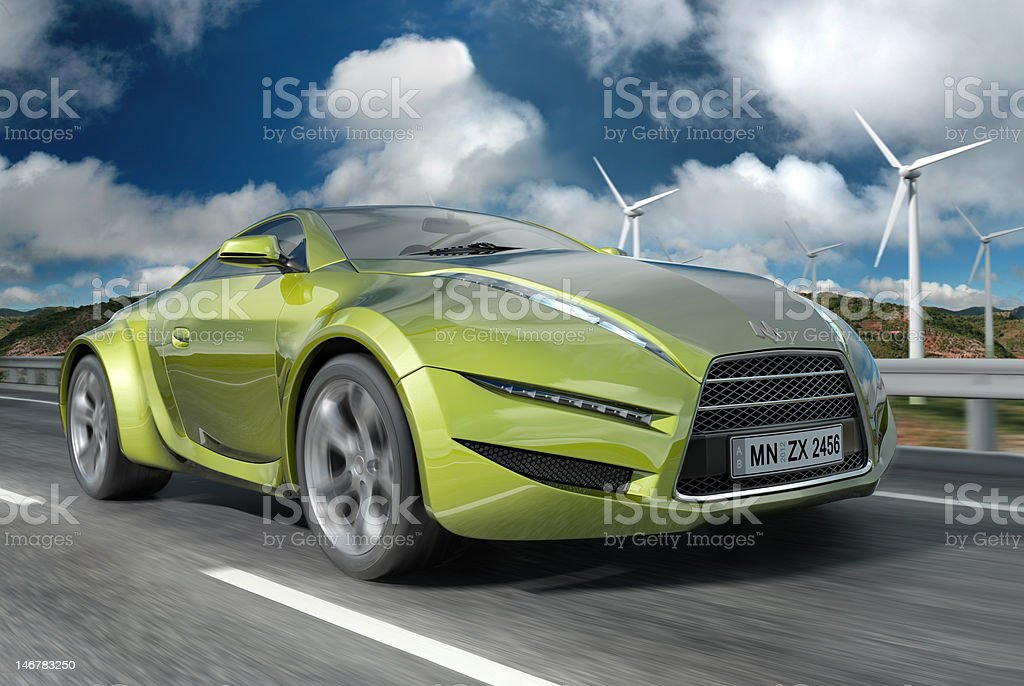 Image of lime green sports car on a cloudy day royalty-free stock photo