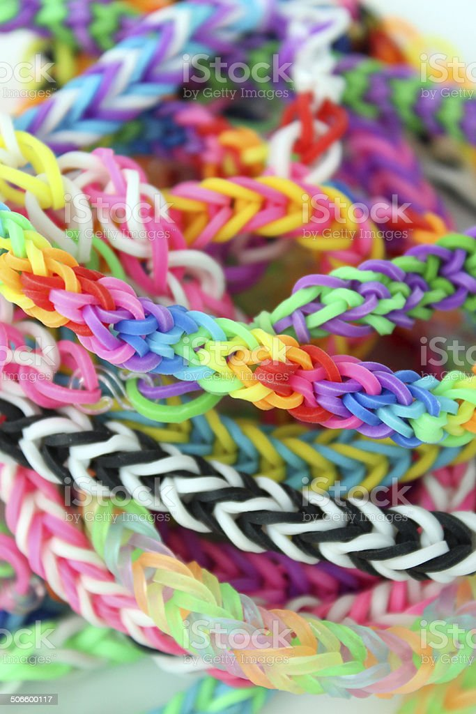 Image of loom bracelets / coloured rubber band bracelets / loom bands royalty-free stock photo
