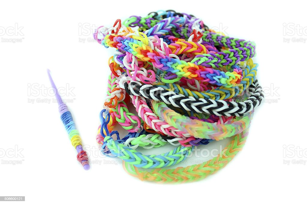 Image of loom bracelets / coloured rubber band bracelets / loom bands royalty-free stock photo