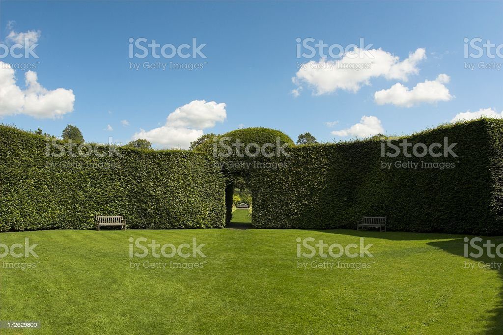 Image of lush English garden with groomed hedge walls stock photo