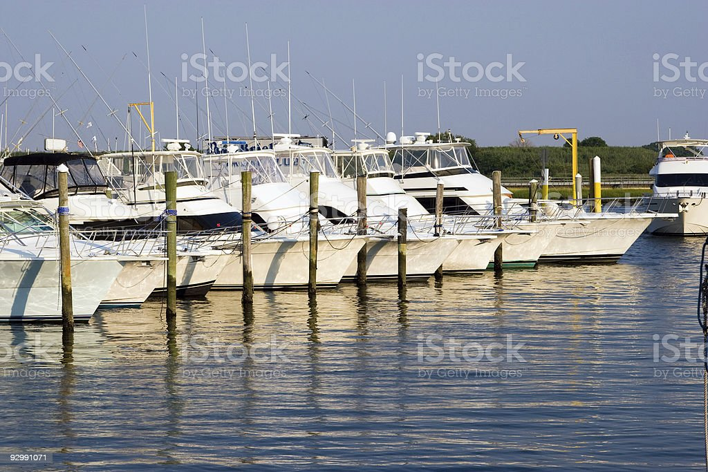 DSLR image of luxury yachts in a marina stock photo