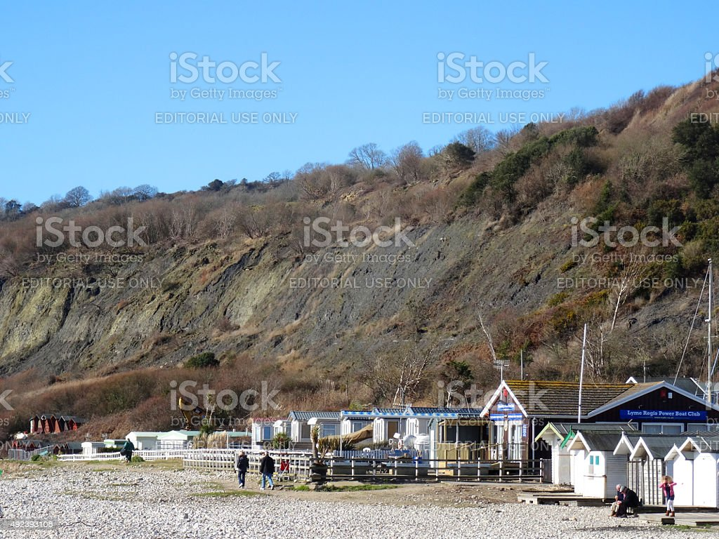 Image of Lyme Regis Power Boat Club at Monmouth Beach stock photo