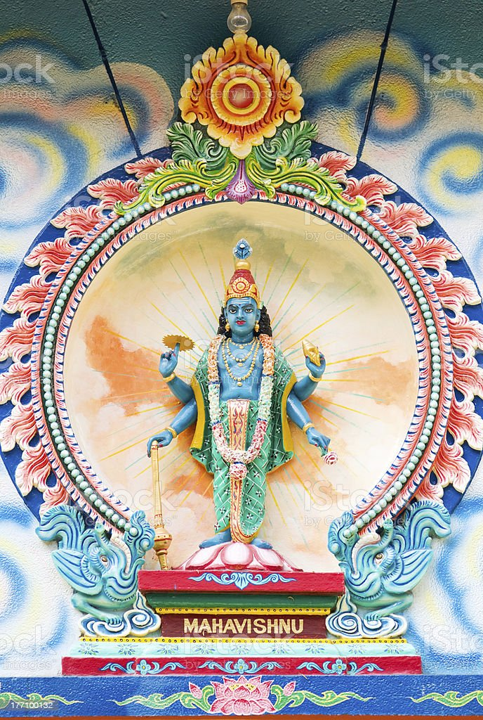 Image of Mahavishnu at Hindu temple stock photo