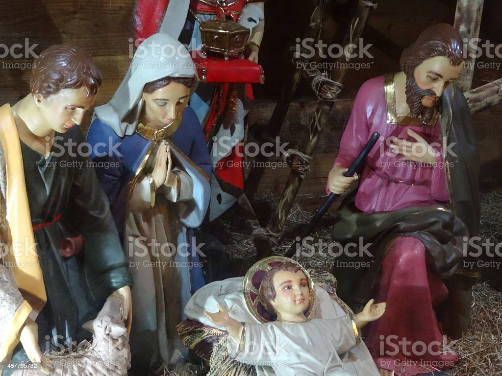 Image of Mary, Joseph, baby Jesus in Christmas nativity scene stock photo