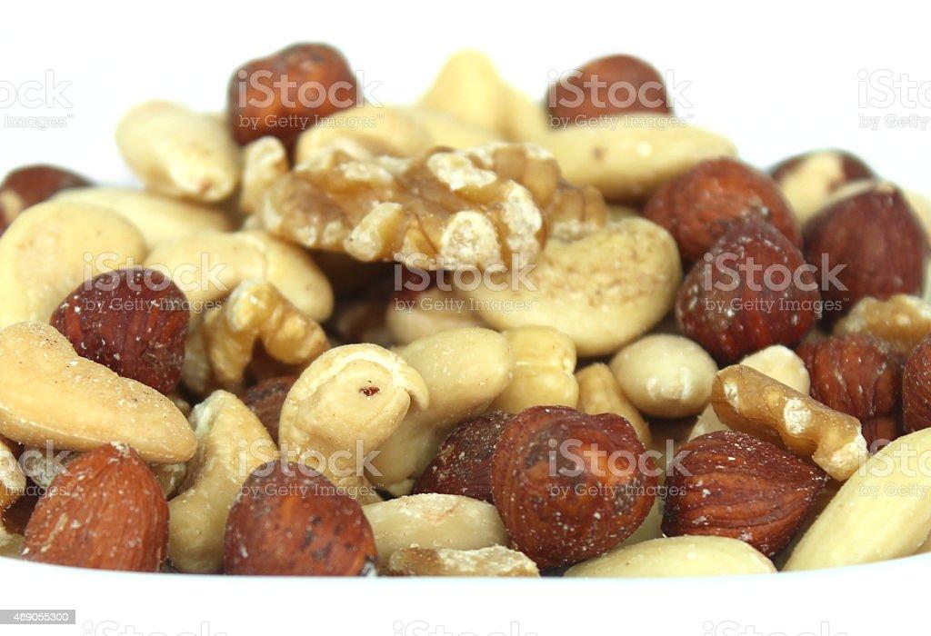 Image of mixed nuts health-food, almonds, cashews, hazelnuts and walnuts stock photo