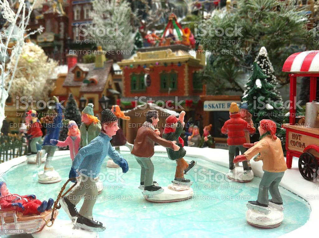 Image Of Model Christmas Village With Miniature Houses