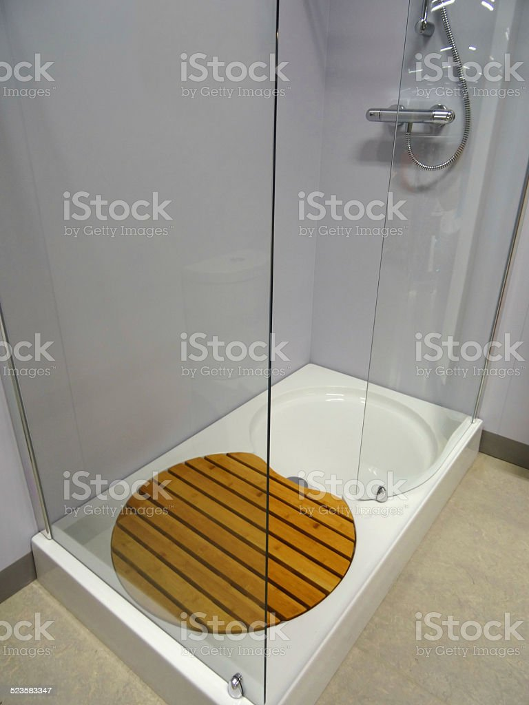 Image of modern bathroom, glass shower enclosure, white shower tray stock photo