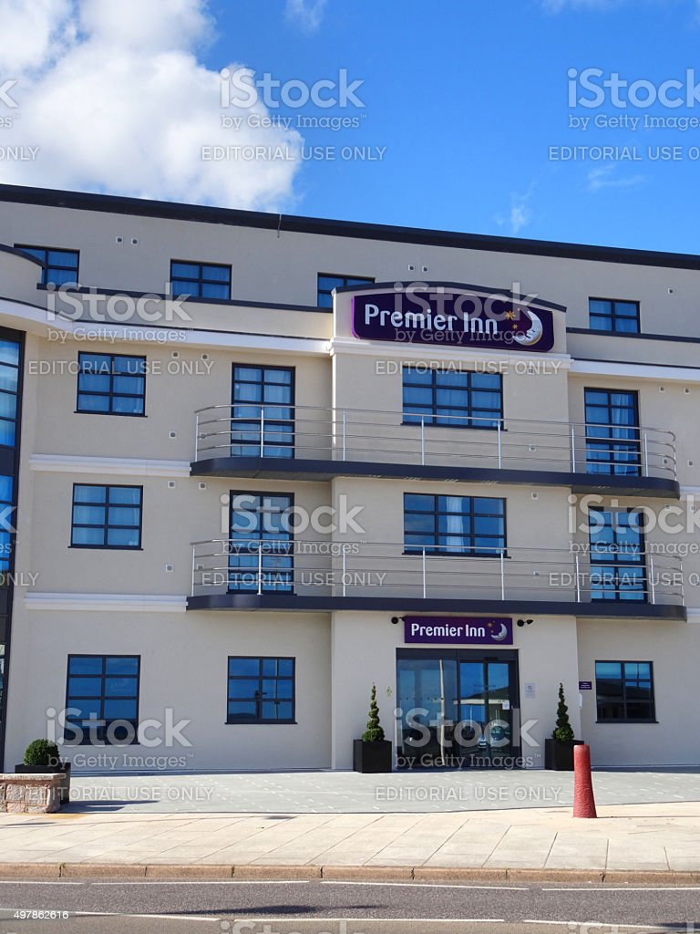Image of modern Premier Inn Hotel exterior by Exmouth beach stock photo