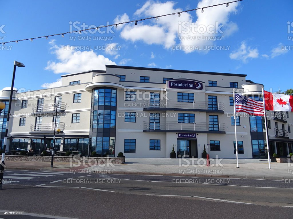 Image of modern Premier Inn hotel on Exmouth seafront stock photo