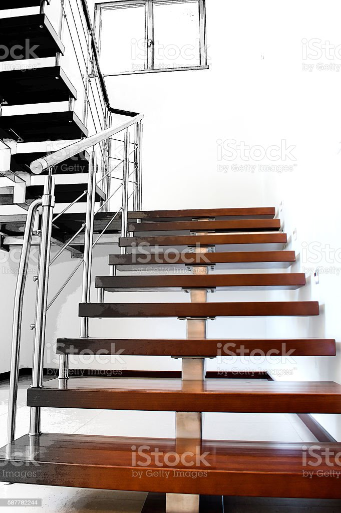Image of modern stairs based on the architectonic project stock photo