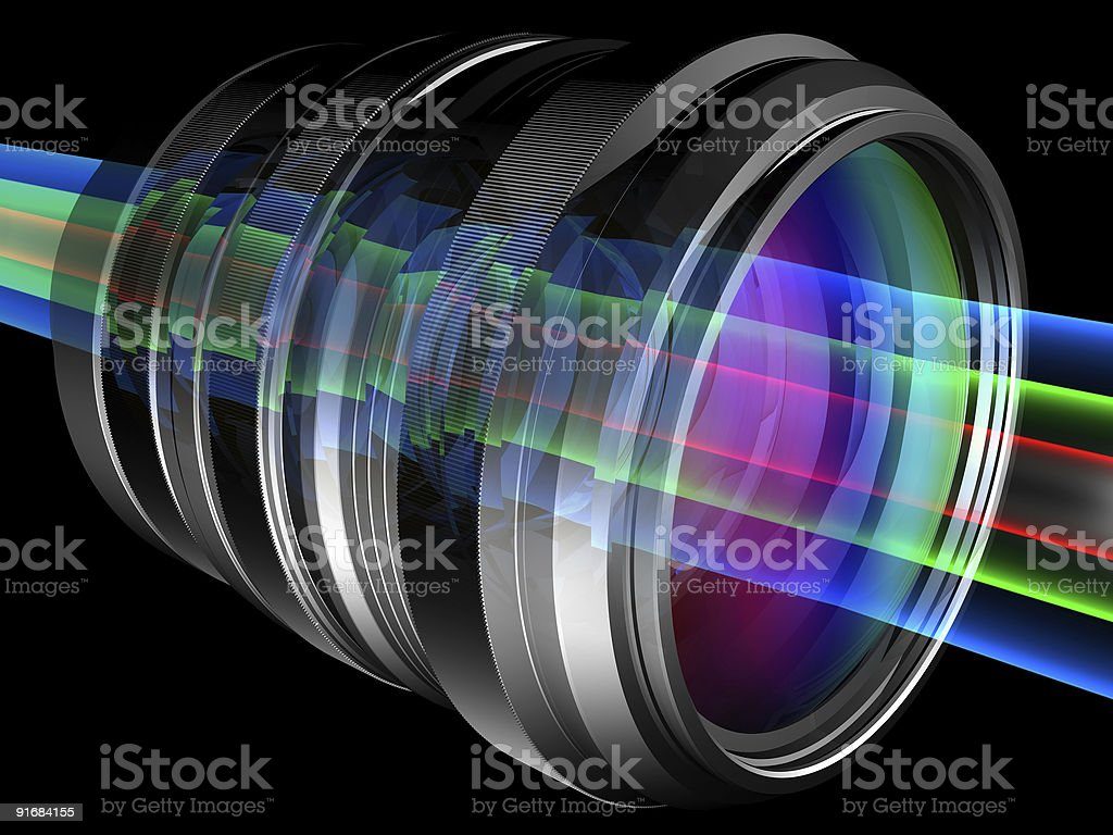 Image of multicolored lights shining through a camera lens stock photo