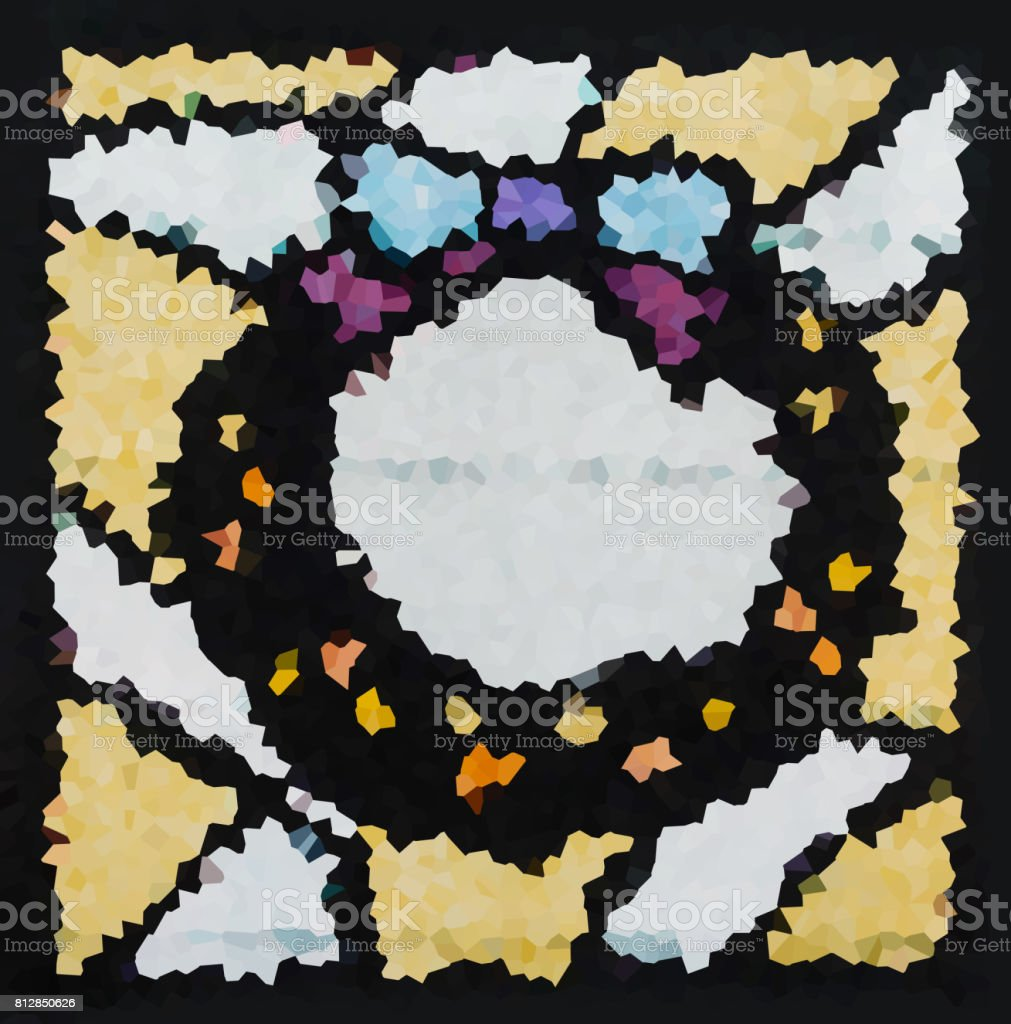 Image of multicolored stained glass window, flowers pattern, Chr stock photo