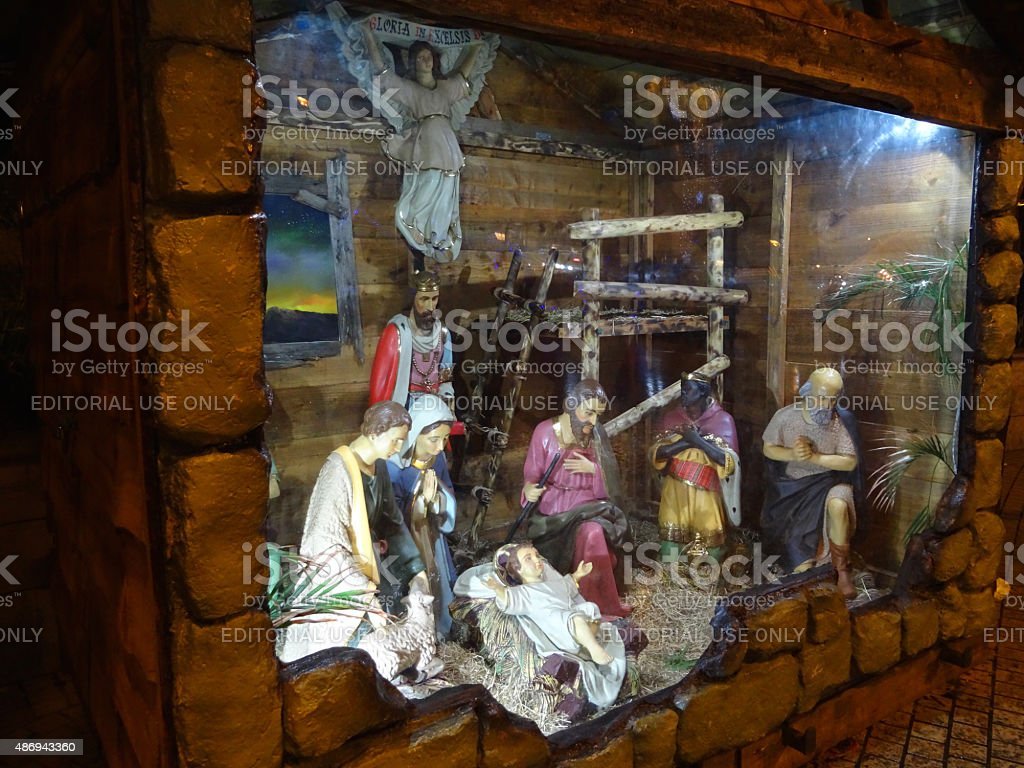 Image of nativity display at Christmas, Mary, Joseph, Jesus, Three-Kings stock photo