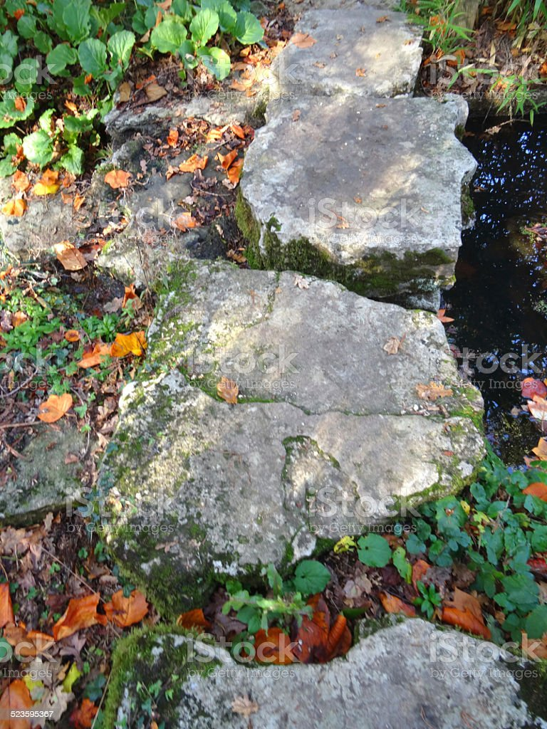 Image of natural stepping stones forming garden pathway of rocks stock photo