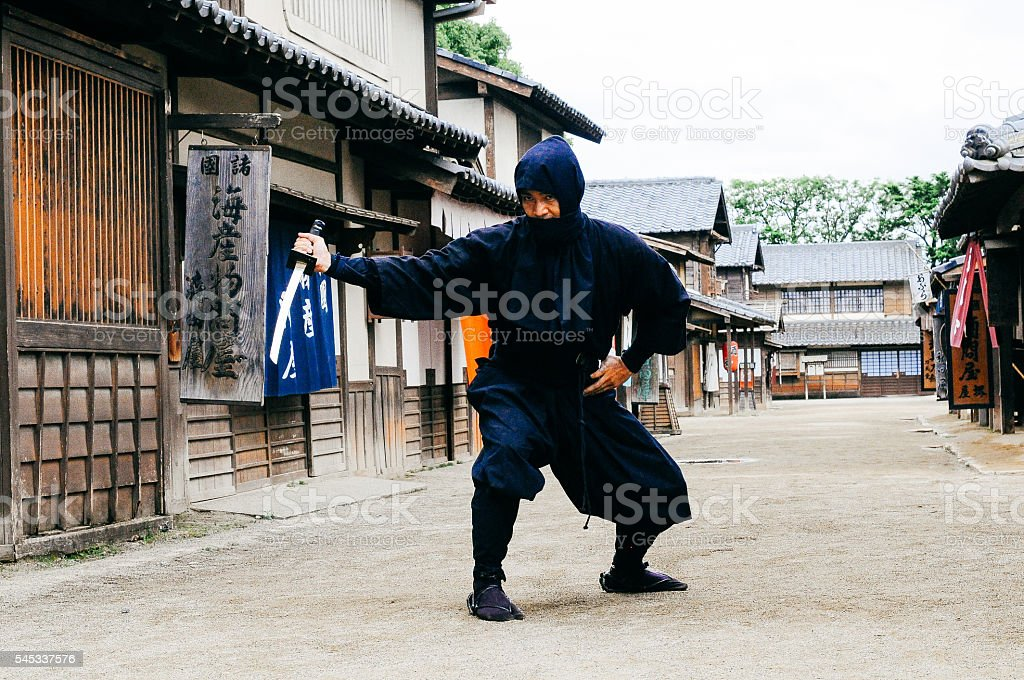 Image of ninja in traditional Japanese village stock photo