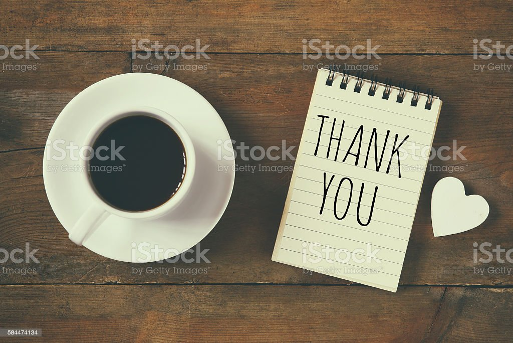 image of notebook with phrase: THANK YOU stock photo
