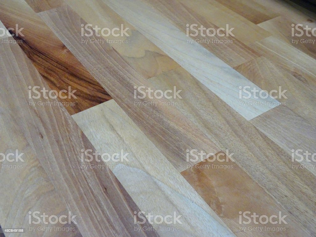 Image of oak-effect laminate wooden flooring in hallway, home interior stock photo