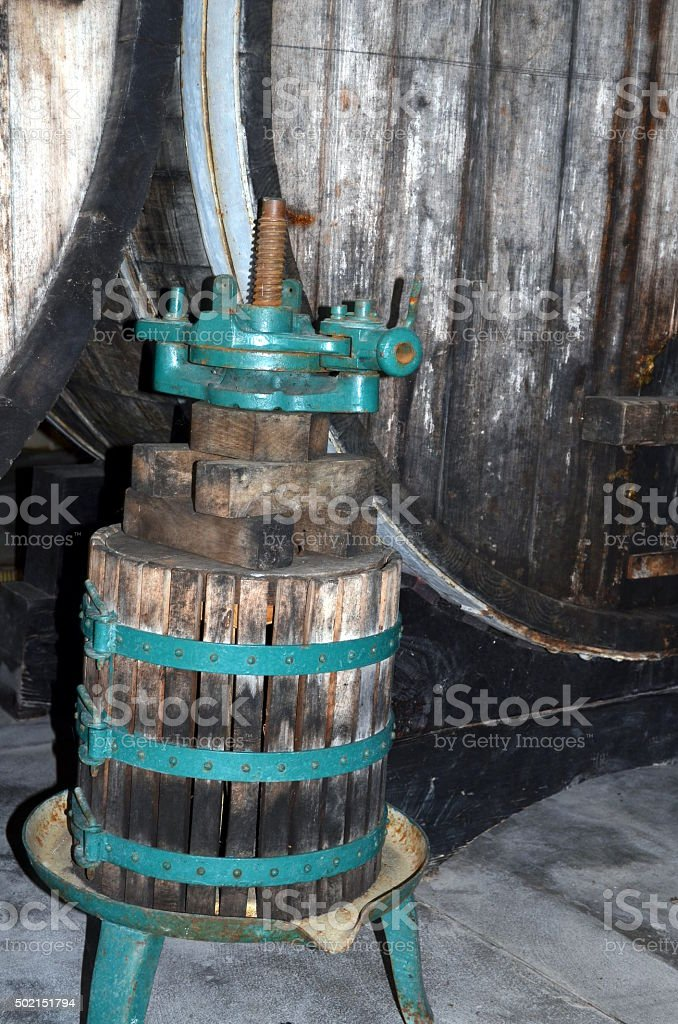 image of old wine press  in a vinery stock photo