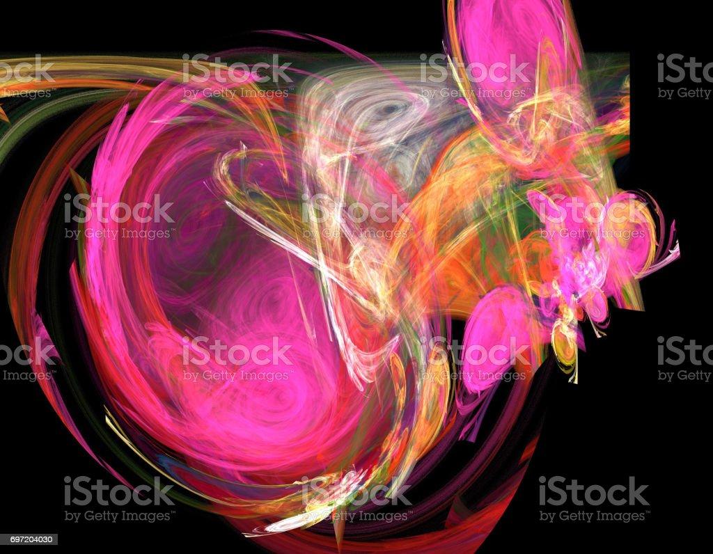 image of one Digital Fractal on Black Color stock photo