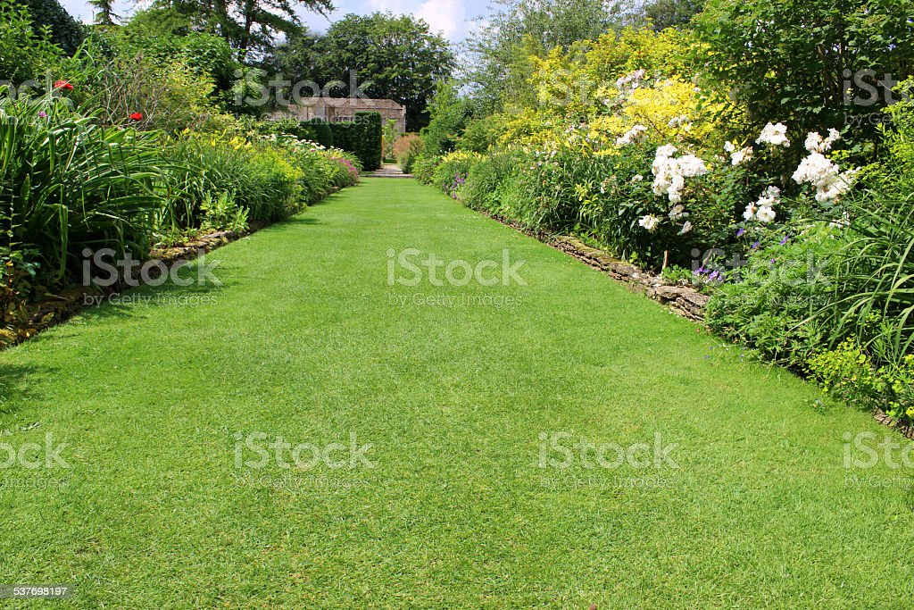 Image of ornamental flower garden with lawn pathway, herbaceous plants stock photo